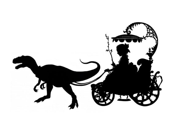 Silhouette Girl Carriage Pet Dinosaur Raptor Velociraptor SMALL art print Victorian Steampunk Jurassic Park