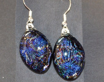Dark Blue Dichroic Fused Glass Drop Earrings