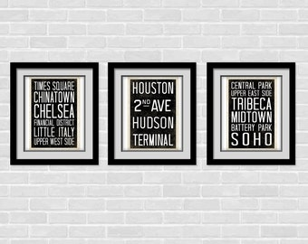 NYC Subway art print- Set of 3, 8 x 10 poster - Vintage inspired Subway Art