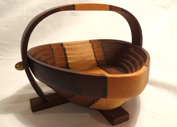 Handmade Collapsible Wooden Baskets : Collapsible handmade wooden heart basket by satoritreasures
