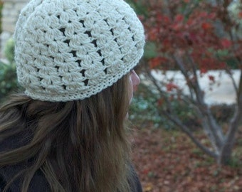 Seaspray Hat - Crocheted Hat - Baby Toddler Child Teen Adult - Ivory - Cream - Lacy Shell Beanie - Cloche - Slouchy - Custom made -