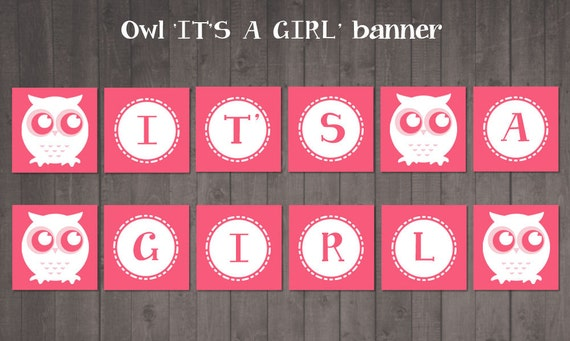 Printable It S A Girl Banner Pink Owl Baby By