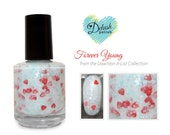 Forever Young Nail Polish -  red hearts, white, aqua glitter - 5ml Mini Sized Bottle