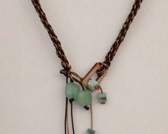 18 in leather lariat necklace with 5 inch draped green aventurine and turquoise colored cubes