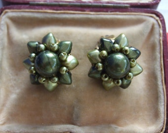 Vintage purple bead clip on earrings          9
