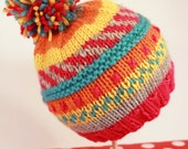 LENA: Handknit baby hat, 3 month size, stripes, embroidery, pom-pom