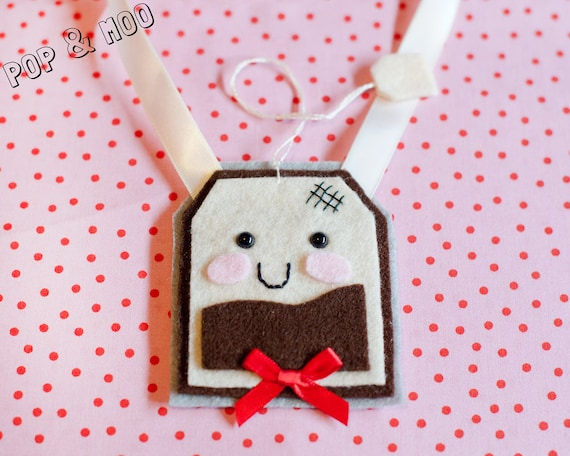 Felt teabag necklace / Cute kawaii unique jewellery / Statement womens ribbon tie jewelery / Kitsch accessory  by Pop and Moo.