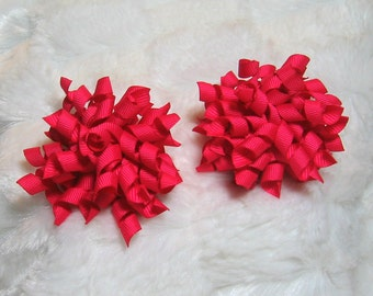 Hot Pink Korker Hair Bow Set - Matching Petite Bow Set - Great for Pigtails or as a Single