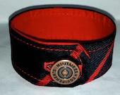 Handmade Silk Cuff Bracelet Navy with Fine Red Stripe