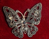 Vintage Marcasite Butterfly Pin Brooch