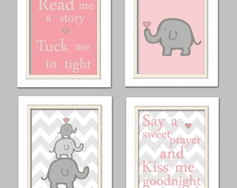 Nursery Quad, Pink and Grey Nursery, Elephant Nursery, Set of 4 8X10, Pink, Grey