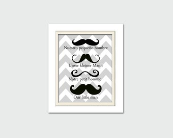 Nursery Art, Mustache Baby Shower, Mustache Art, Foreign languages, 8X10, Boy Nursery Art, Choose your colors