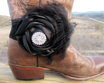 Black Satin, Black Lace, and feathers Cowgirl Boots Bracelet