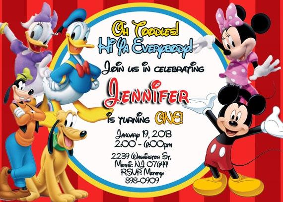 CUSTOM PHOTO Invitations Mickey Mouse Clubhouse Birthday Invitation - You Print - PRINTABLE - I Customize You Print - 4x6 or 5x7