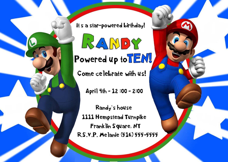 Super Mario Birthday Invitations for perfect invitations example