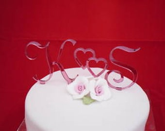 PINK Mirror Monogram letters-wedding cake toppers SET 3  ( French script )