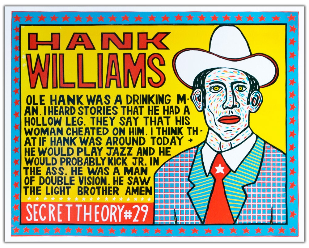 HANK WILLIAMS Secret Theory 29 Hand Printed Woodblock Poster