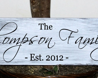 Primitive - Custom family name sign with established date