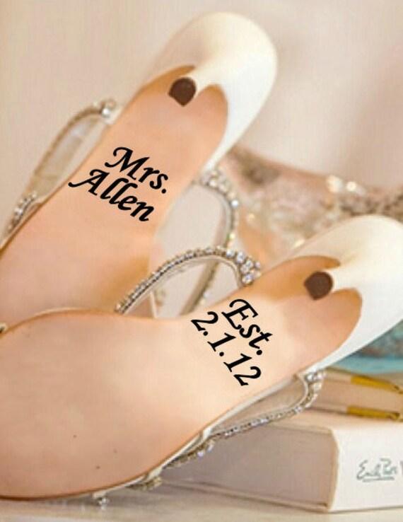 Personalized Wedding Shoe Vinyl Decals With Established Date - Custom made vinyl decals