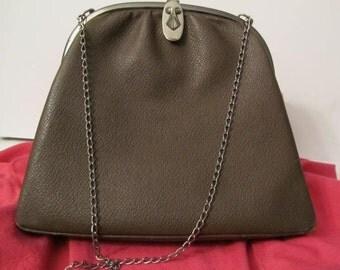 Vintage purse, brown leather purse, 1940 purse, hand bag, purse, bag,