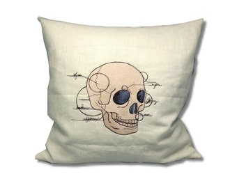 Anatomy Collection Linen Cushion Skull