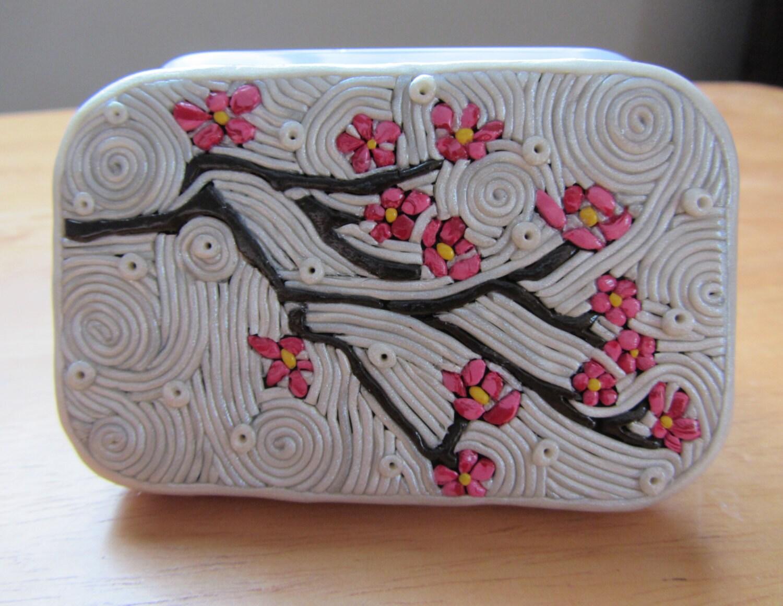 Polymer Filigree Tin Cherry Blossom Altoids Size