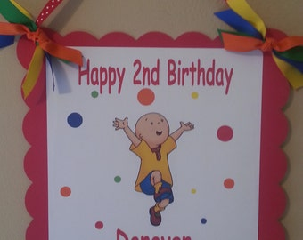 Caillou Happy Birthday Door Sign