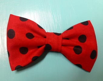 Cloth Bow Hair Clip - Red with Black Polka Dots -- by Antique Elephant