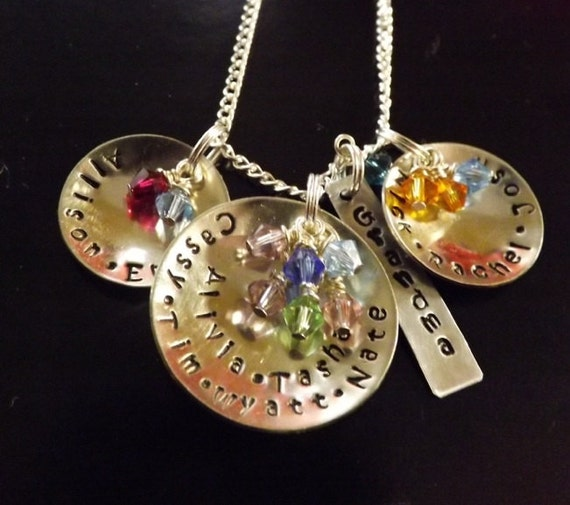 Grandmother's necklace with Swarovski birthstones, grandchildren names