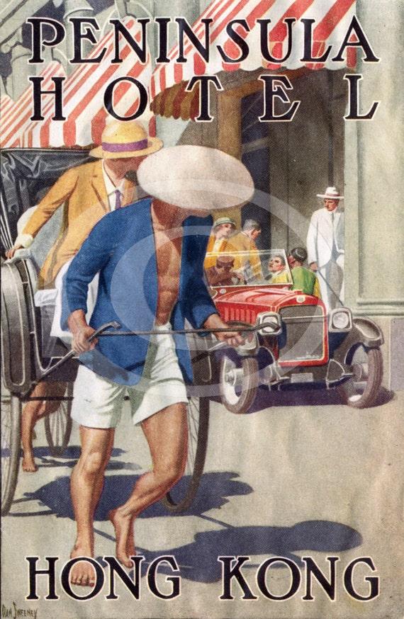 Vintage Dan Sweeney Peninsula Hotel  HONG KONG China  luggage label Fine Art Print Giclee Poster