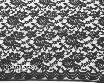 Scalloped Lace Fabric by yard, Black Scalloped Lace Cotton Fabric, Scallop Lace - 1 Yard Style 282