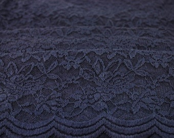 Navy Scalloped Lace Fabric by the Yard Wedding Bridal Craft Lace Material Navy Scalloped Lace Fabrics - 1 Yard Style 312
