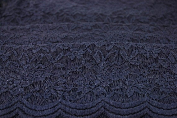 Scalloped Lace Fabric by The Yard Navy Scalloped Lace Fabric by