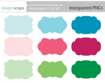 labels clip art, frames digital clipart personal and commercial use - mixed frames rainbow labels  - INSTANT DOWNLOAD