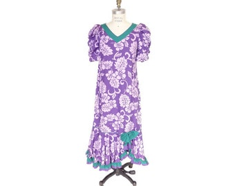 Hawaiian Muumuu Dress with Hibiscus Print, Gathered Sleeves and Ruffled Bottom - Purple