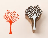 Wood block stamp, tree