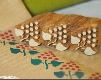 Wooden printing block, grapes