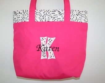 Personalized Music Bag (With Applique Letter and Embroidered Name)