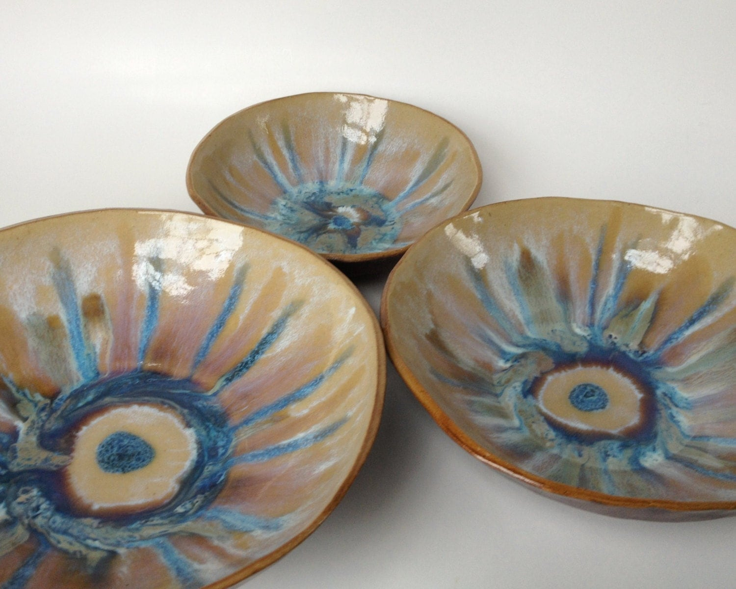 Decorative Ceramic Bowls Pottery Nesting Bowls Set of 3