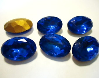 Vintage Glass Oval Sapphire Blue colour Foiled Czech Rhinestone crystal jewels 18mm x 13mm-6 pieces