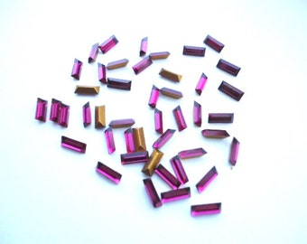 Vintage Glass Ruby Red colour Baguette Rectangular foiled rhinestone approx 2mm x 5mm 20 pieces. Article No 109