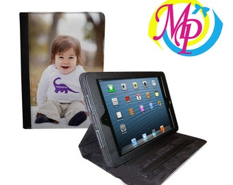 Personalized iPad Mini Canvas, leather and suede Case