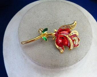 Vintage Rose Rhinestone Pin
