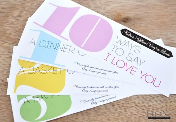 custom love coupon book printable  birthday by