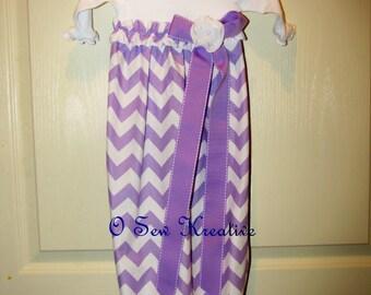 Baby Girl Onesie Dress, Baby Girl Dress, Layette, Newborn Sleep Sack, Lavender Chevron