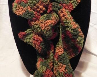 Green/Rust Varigated Crochet Ruffle Scarf