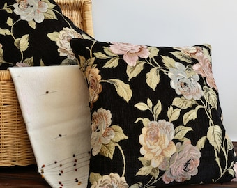 24x24 Cushion Covers - Black Floral Pillow Cover -  Tapestry Pillow - Decorative Throw Pillows - Cushion Cover