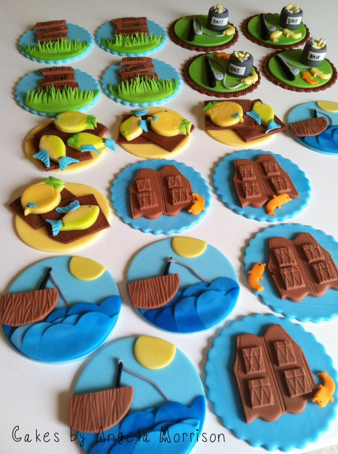 fishing cupcake toppers by cakesbyangela on etsy