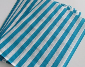 Teal and White Striped Gift Bags--Set of 12 Party Favor Bags--Treat Bags--Decorative Paper Bags--Wedding Favor Bags