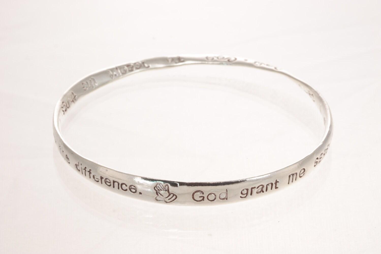 serenity prayer silver bangle sterling bracelet religous